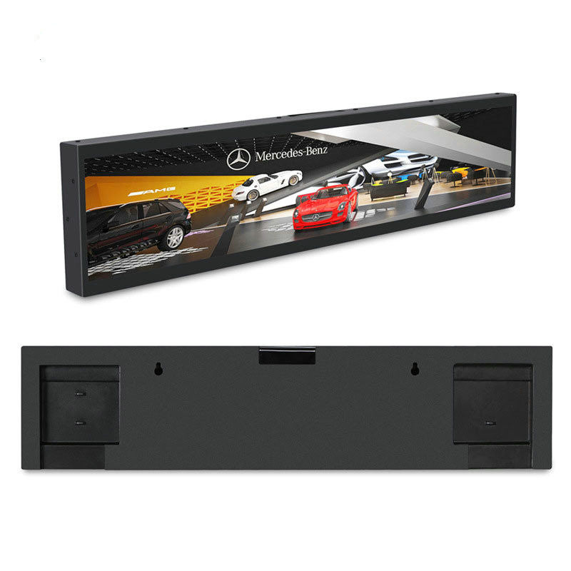 Wall-mount metal case black color 31.5'' stretched LCD display for advertising