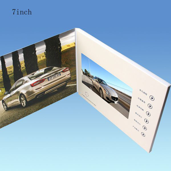 White 7 Inch Battery Operated Promotional Video Card With 128MB-8GB Flash Memory Card